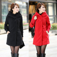 Free Shipping 2013 New Fashion Women's High Quailty Coat With a Hood Thermal Thickening Overcoat Slim Woolen Outerwear