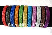 Hot sell 50pcs glint 8mm DIY accessory Glint Glitter Leather  wristband