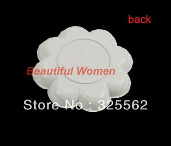5set/lot Free Shipping New 5pcs White Acrylic Color Mixing Paint Draw Design Nail Art Palette Dish Flower 5843 3F
