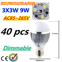 Free DHL and FEDEX 40pcs/lot Bubble Ball Bulb 3LED 9W E27 GU10 High power Ball steep light LED Light Bulbs Lamp Lighting