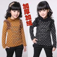 Children's clothing female child autumn and winter 2012 child dot thickening plus velvet basic shirt turtleneck long-sleeve
