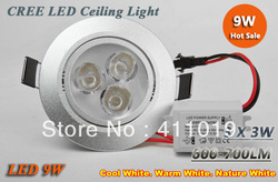 X50 High power 9W 3x3W Led light 120 Beam Angle Pure / Warm White Led Fixture Downlights Recessed Lamp 85-265V light spot light(China (Mainland))