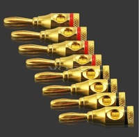 Free Shipping (HKpost)100pcs(Red+Black) Speaker Banana Plugs Connector Gold Plated