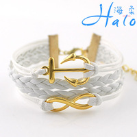 B00-758 10PC/Lot Free Ship 2013 White Leather Wholesale Gold Plated Alloy Charm Archor Infinity Bracelet For Woman