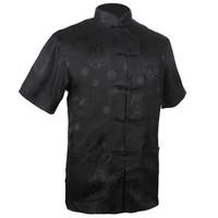 Black Chinese tradition Men's Silk Satin Kung-Fu shirt top with Dragon S M L XL XXL XXXL M0016