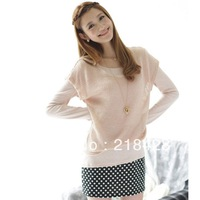 spring women's knitted patchwork polka dot false long-sleeve dress