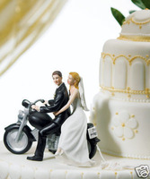 Motorcycle Get Away Fun Wedding Cake Topper