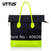free shipping fashion Color block  neon canvas bag portable ladies' handbag shoulder bag