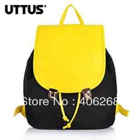 free shipping 2013 UTTUS  fashion  shine neon  color block canvas bag ladies' backpack student school bag