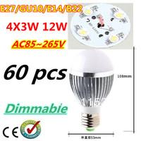 60pcs/lot Retail Dimmable Bubble Ball Bulb AC85-265V 12W E14 E27 B22 GU10 High power Globe light LED Light Free DHL and FEDEX