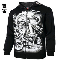 Men's luminous skull masks hat hip hop Rock loose coat tide male countersigned cashmere sweatshirts hoodies