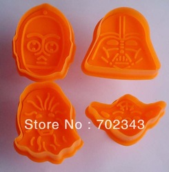 New 4pcs/set Cookie Cutter Plunger Pie Crust Cutters Biscuit Mold Star Wars Set(China (Mainland))