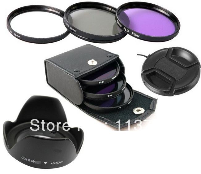 Lens cap +Lens Hood+52mm UV CPL FLD Filter Set for Nikon D600 D3200 D3100 D3000 D7000 D5100 D80 D300S DSLR Camera(China (Mainland))