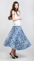 Free Shipping women's bust skirt 100% cotton print soft denim blue flower