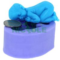 3d Handmade New Soft Silicone Cake Mold Fondant Decorating Sleeping Baby Shape Soap Mold