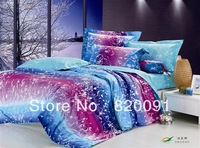 HOT SALE ! Fine Quality Bright Beautiful ' Meteor Shower ' Home Bedding Set Doona Duvet Cover Sets 4pcs Full/Queen Size