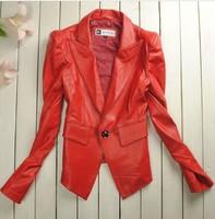 Watch ! Cheap luxury brand Spring new arrival 2014 single-button blazer Women sheepskin genuine leather clothing S M L XL 2XL