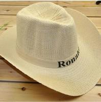New Fashion mens Wide Large Brim Floppy Fold Summer Beach Sun Straw Hat Cap cowboy hat wholesale Free Shipping