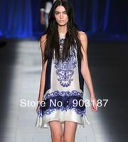 Free Shipping  Catwalk Models Women's New Blue and White Porcelain Printed Pleated Silk Sleeveless Slim Dress