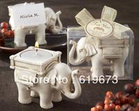 """Lucky Elephant"" Antique Ivory Finish Tealight Candle Holder for Wedding Favors (Set of 100 pcs)+Wholesale free shipping"