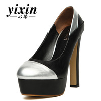 Color block 2013 fashion gold wedding shoes thick heel platform high-heeled single shoes round toe women's princess shoes