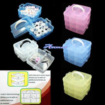 MULTI PLASTIC Storage Empty 3 layer BOX CASE NAIL ART CRAFT MAKEUP Box, HB-Storagebox677-mul