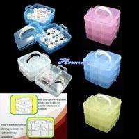 Free Shipping MULTI PLASTIC Storage Empty 3 layer BOX CASE NAIL ART CRAFT MAKEUP Box,HB-Storagebox677-mul