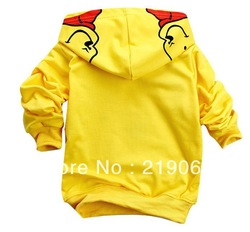 Retail smiling yellow Winnie baby boys girls cartoon clothing long sleeve hoodies children sweatshirts freeshipping((BGS-181-2))(China (Mainland))