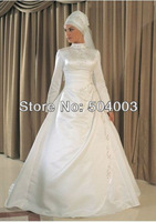 Free Shipping Popular Satin High Neckline Embroidery Stylist  Muslim Wedding Dress With Long Sleeves Custom-made Size/Colour