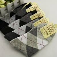 Free shipping high quality man socks,In tube sock, Rhombic block socks,10pairs/lot with multi-colors