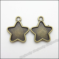 120pcs Vintage Charms Five-pointed star  Pendant Antique bronze Fit Bracelets Necklace DIY Metal Jewelry Making