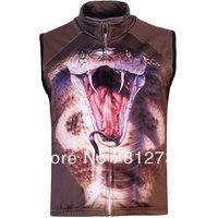Free Shipping,Hot Sale Men's 3D Cobra Snake Printed Gothic Punk Casual Fleece Bodywarmer Gilet Vest,3 D Vest S-5XL,Plus Size
