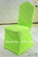 Factory direct Green ruffle lycra Elasticity plus thickening Hotel Wedding Banquet spandex chair cover with diamond buckle