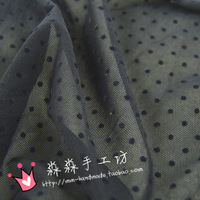 Clothes diy black flock printing dot polka dot elastic mesh fabric clothes basic fabric