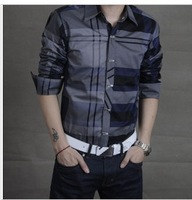 2013 new spring men's Long-Sleeve Shirt fashion knitting Free shipping (