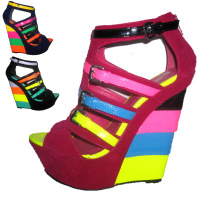 New arrival and hot sell/lady summer beautiful rainbow wedges,women fashion dress shoes,women popular high heel sandals