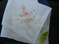 Single drawn multicolour rose handkerchief c0710-10 - - - handmade luxurious