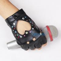 Personalized diy rhinestone diamond hip-hop gloves star hot-selling PU gloves