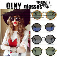Fashion Tea&Black Round Frames Fashion Sunglasses Women Watch For Fancy Dress Free Shipping