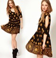 2013 MOQ 1pcs Free Shipping Elephant Print Sexy Bare shoulders half sleeve slim dress