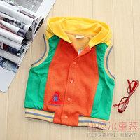 Baby cotton waistcoat vest child male female child with a hood cotton vest baby vest children's woven clothing vest