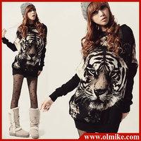Fashion Womens Tiger print Tops Sweatshirts Casual Jumper T shirt Ladies Animal Pattern Long Sleeve Sweater Warm Pullover WA165