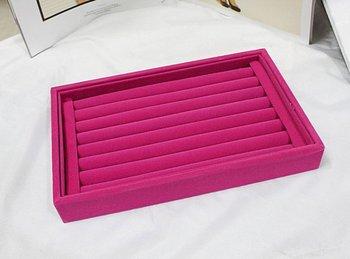 Velvet Ring Jewelry Display Tray Holder Case Hot Holder Pink