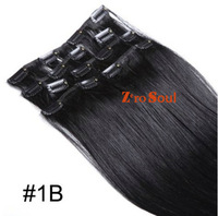 """ZS AAA+ Hot Sell :15""""-28"""" Indian Virgin Remy Clip Straight Human Hair Extension 75g-140g Natural Black  #1B,Free Shipping"""