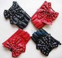 women's fashion rivet big bow semi-finger PU handmade leather gloves