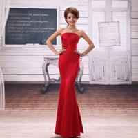 Red bride married fish tail formal dress improved version of long design formal dress the wedding formal dress