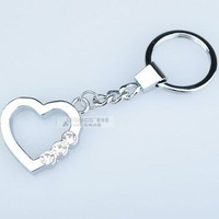 Three diamond heart keychain couple key chain key chain aluminum alloy