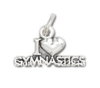 free shipping hottest metal I heart Gymnastics Charm sports jewelry