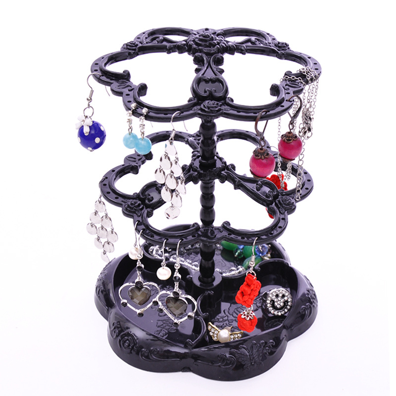 Three-dimensional rotating jewelry stand double layer earring rack accessories rack(China (Mainland))
