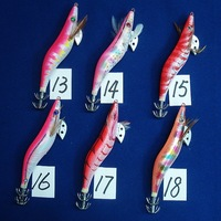 Freeshipping 100pc/lot wood shrimp for Squid 13.5cm 20g fishing lure sea fishing hooks Color TB-16